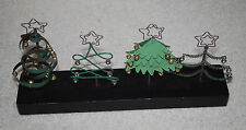 "Christmas Tree Holiday Display 13""x6"" Metal Wood Stand Artsy Decor Black Green"