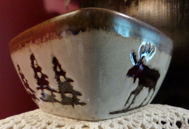 NWT Woodland Pattern by Homestudio (1) Square Bowl Soup or Cereal Moose Trees