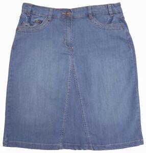 RRP-22-Ladies-Size-8-16-Stretch-Denim-Knee-Length-Skirts-Blue-Denim-Wash-Womens