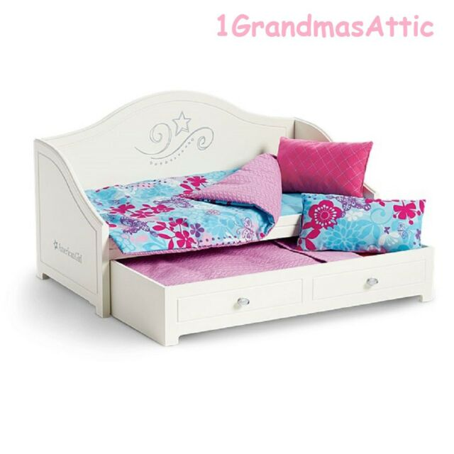 Dolls & Bears American Girl Doll Dreamy Trundle Bed With Bedding For Two Dolls American Girl Doll Furniture & Play Accs