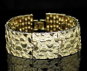 Mens-Nugget-Bracelet-14k-Gold-Plated-7mm-14mm-24mm-8-inch-Hip-Hop-Fashion