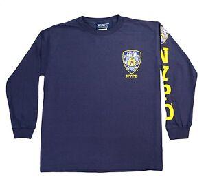 NYPD T-Shirt Short Sleeve Navy Yellow Logo Sleeve Print