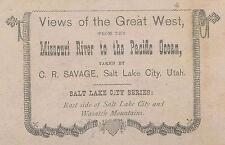 ANTIQUE GREAT WEST SALT LAKE CITY WASATCH C.R. SAVAGE LDS FINE STEREOVIEW PHOTO