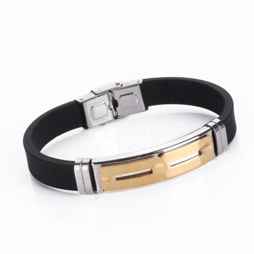Unisex Men Punk Stainless Steel Rubber Wristband Cuff Bangle Bracelet Jewelry