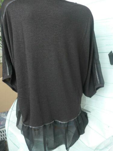 Amy Vermont Chemisier Femmes Taille 46 à 48 Noir Avec Mousseline Arrière 570 NEUF