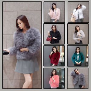 c73b12557c Women Real Ostrich Turkey Feather Fur Coat Jacket Sleeve Winter Warm ...