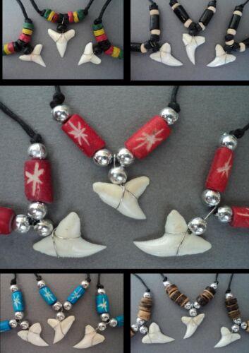 Diente de tiburón collar conjunto de 3 para hombres niños Tiburones Dientes colgante surfer bisutería