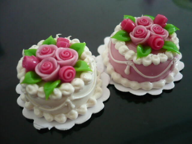 Dollhouse Miniature Pink with Chocolate Cream Cake Rose Top Food Bakery 30 mm
