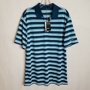 NEW-NIKE-GOLF-DRI-FIT-MENS-POLO-SHORT-SLEEVE-BLUE-SHIRT-SIZE-MEDIUM-TPB16P