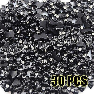 30 x DIY 3D Nail Art Bowknot CZ Rhinestone Decoration Acrylic Black #608