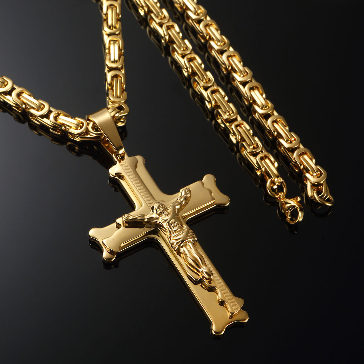 24 Quot Mens 18k Gold Stainless Steel Chain Necklace Jesus