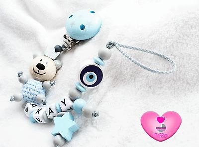 Schnullerkette mit Namen ♥ Junge ♥ Nazar ♥ Auge ♥ Blau ♥ Türkisch