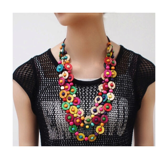 Nataliya Multicolor Handmade Coconut Shell Wood Statement Necklace