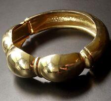 vintage bright gold tone clamper bangle bracelet 1980s -C822
