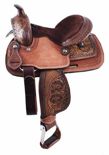 10  Leather Western Youth Saddle w Basketweave Tooling Mini Miniature Horse Pony