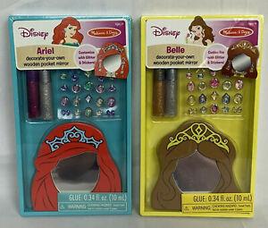 Melissa-amp-Doug-Disney-Ariel-amp-Belle-Decorate-Your-Own-Wooden-Pocket-Mirror-Art-Set