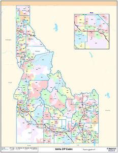 Idaho State Zipcode Laminated Wall Map | eBay