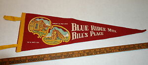 VINTAGE-BLUE-RIDGE-MTS-BILL-039-S-PLACE-RAY-039-S-HILL-PA-FULL-SIZE-PENNANT-60-039-S-RED