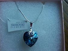Genuine Swarovski Elements Capri Blue 18mm Crystal Boxed Silver Pendant Necklace