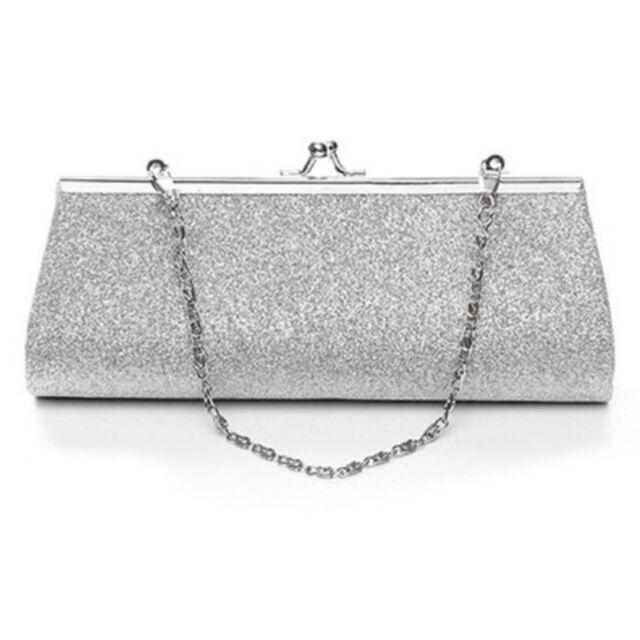 Women Glitter Clutch Purse Evening Party Wedding Banquet Handbag Shoulder B T3L7