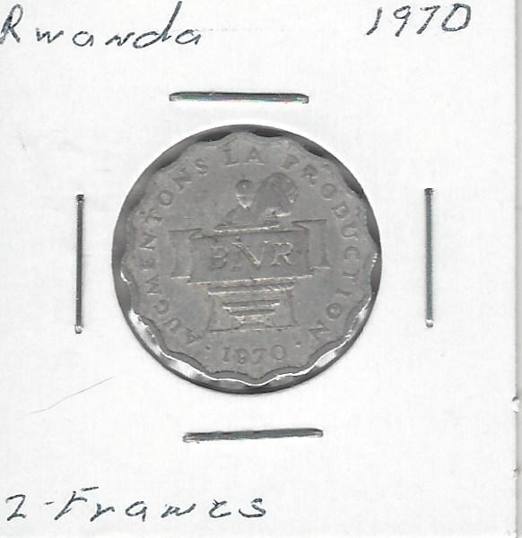 Uncirculated. Rwanda 2 Francs 1970 km10