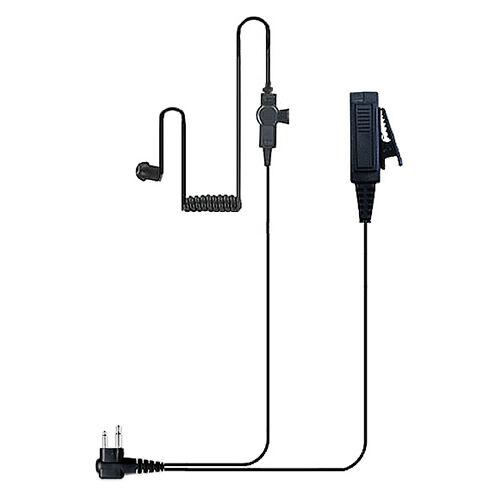 Black Edition 2-Wire Coil Earbud Two-Way Radio Surveillance Kit Motorola 2-Pin