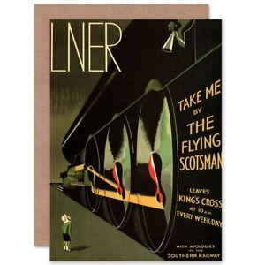 Travel-Lner-Railway-Flying-Scotsman-Uk-Locomotive-Blank-Greeting-Card