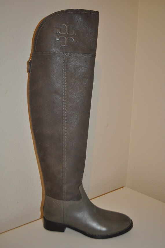 NEW  575 Tory Burch SIMONE Leather Over the Knee Boot Riding Boot 6 Taupe Grey 6