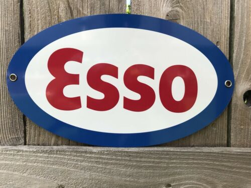 Esso Gasoline Oil Pump Gas Vintage Style Oval 12 Inch metal sign