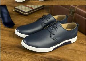 Men-039-s-British-Casual-Genuine-Leather-Shoes-Lace-up-Sneakers-Oxford-New