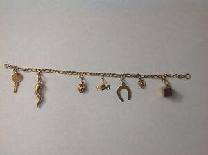 Estate-14K-Gold-7-Charms-7-034-Bracelet-made-in-ITALY-8-25-g