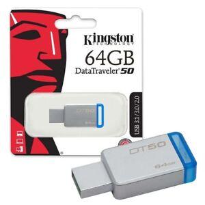 PENDRIVE USB 3.0 64GB CHIAVETTA PENNA 64 GB FLASH KINGSTON DT50/64GB CORRIERE