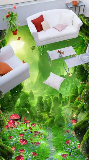 3D Mushroom Forest Scenery 7 Floor WallPaper Murals Wall Print Decal 5D AU Lemon