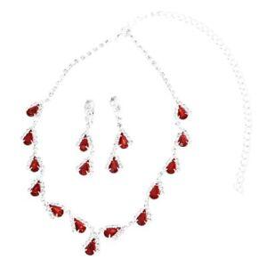b3bf5de9d8d9 Juego de joyas para mujer Aretes collar de diamantes de imitacion de ...