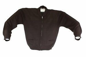 COBMEX MEN'S ZIP FRONT ACRYLIC UNIFORM 2 POCKET CARDIGAN SWEATER BROWN X-LARGE