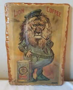 Vintage-Lion-Coffee-Advertisement-1972-Hickory-Plaque-Wood-Wall-Hang-1894-Litho