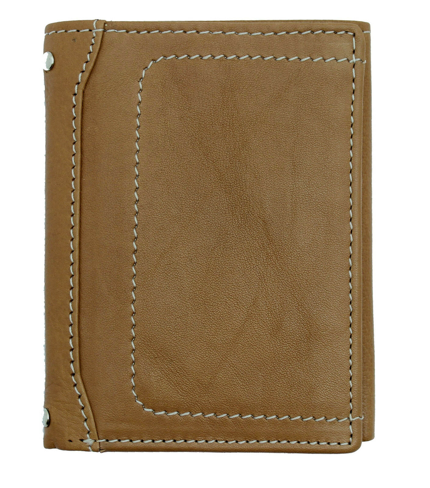 Mens Trifold Leather Wallet Brown