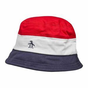 Original Penguin Mens Hume Bucket Hat (Dark Sapphire/Red/White)