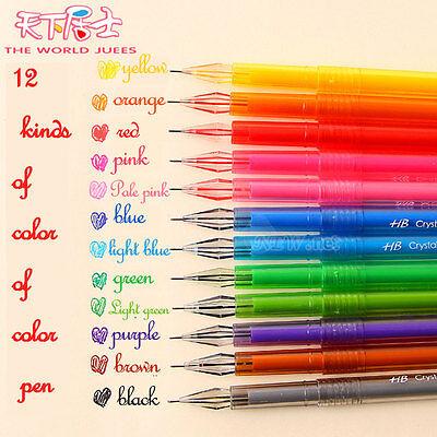 12pcs/set 0.5mm Colorful Gel Pens Student Office Accessories Fine Point
