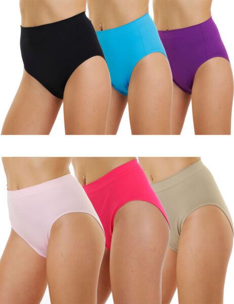 Damen Taillenslips 6er Pack Seamless Stretch Schwarz Weiß Haut Mehrfarbig Mix