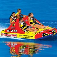 Sportsstuff Bandwagon 2+2 Inflatable Water 4 Rider Tube Boat Towable 53-1620