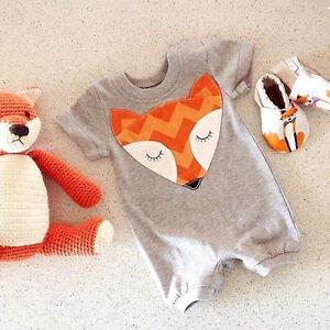 Newborn Kids Baby Infant Boy Girl Fox Bodysuit Romper