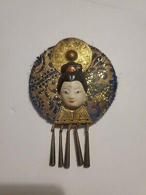 Brass Fan and Geisha Brooch