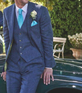 3 Piece Blue Men's Wool Suit Herringbone Tweed Vintage Groom Tuxedo Wedding Suit