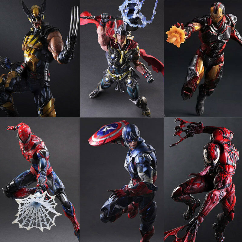 Play Arts Kai Iron Man Spider-Man Captain America PVC Action Figure Model Toy