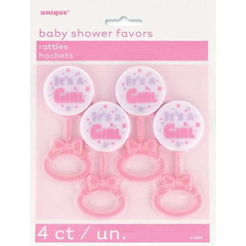 Plastic It/'s a Girl Pink Rattle Baby Shower Favours Pack of 4