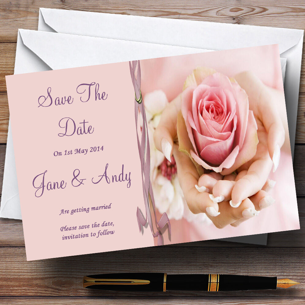 Rosa Lilac Wedding Flower In Hand Personalised Wedding Save The The The Date Cards 594c3d