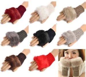 Women-Winter-Fur-Woolen-Knitted-Fingerless-Trim-Gloves-Arm-Wrist-Warmer-Gloves