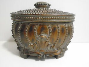 VINTAGE-ORNATE-DECORATIVE-WOOD-CONTAINER-BOX-WITH-LID-6-3-4-034-TALL