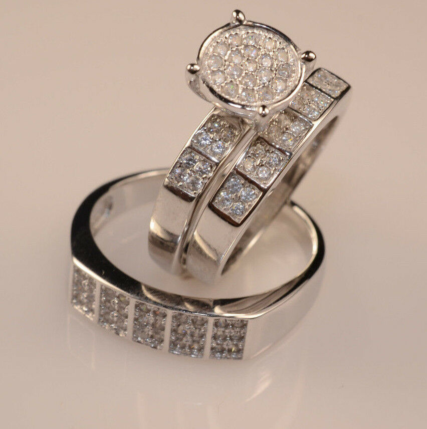 Men And Ladies White gold FinishTrio Set Wedding Engagement Ring free box L9 M12